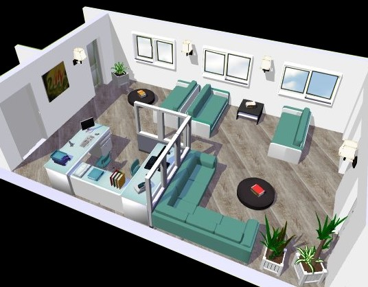 projet 3d d une salle d attente eyre d co. Black Bedroom Furniture Sets. Home Design Ideas