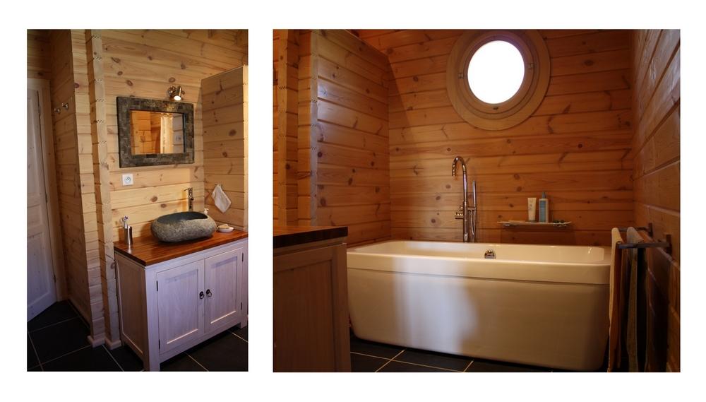 D coration d une salle de bains eyre d co for Rangement baignoire bois